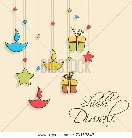 Stylish illuminated oil lit lamp, stars and gift hanging and beautiful text of shubh diwali on light orange background.