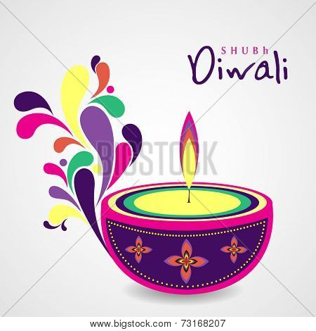 Illustration of colourful illuminated oil lit lamp with beautiful decoration on grey background.