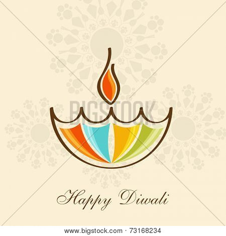 Sketch of colourful illuminated oil lit lamp on floral decorated background.