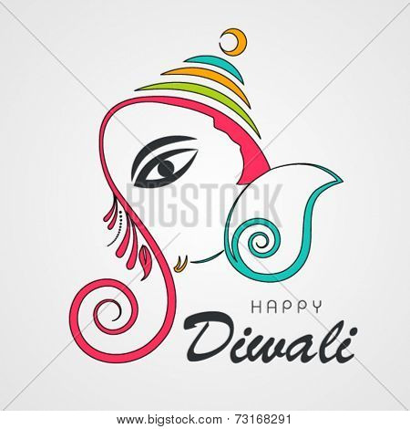 Illustration of beautiful colourful Lord Ganesha face with stylish text on grey background.