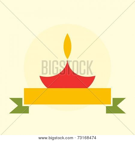 Illustration of a red illuminated  lampion with golden label and ribbon.