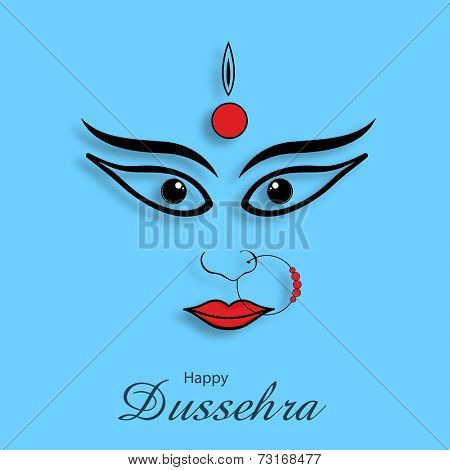 Illustration of angry Goddess Durga face on sky blue background.