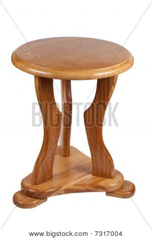 Wooden Chair Isolated On A White Background Clipping Path.