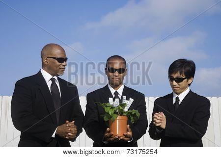 Multi-ethnic businessman with money plant