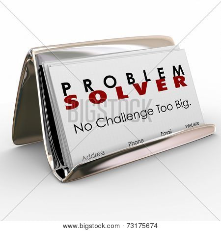 Problem Solver words on business cards to spread the word on your consultant job or career