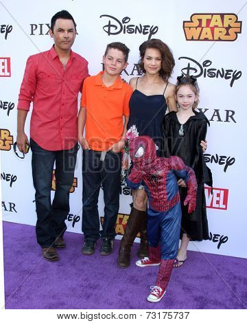 LOS ANGELES - OCT 1:  Michael Saucedo, Rebecca Herbst, Ella Saucedo, Ethan Riley Saucedo, Emerson Saucedo at the VIP Disney Halloween Event at Disney Pop Up Store on October 1, 2014 in Glendale, CA