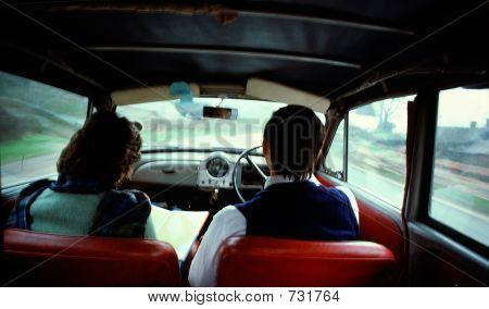 English Country Trip In Morris Minor Car