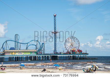 Galveston Pleasure Pier And Beach