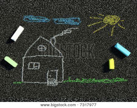 Drawing on asphalt