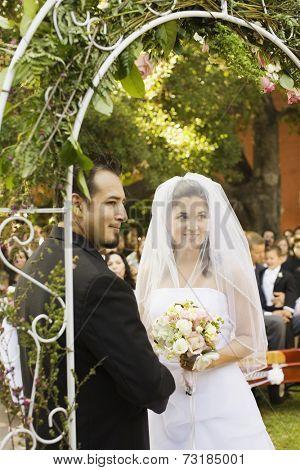 Hispanic couple getting married