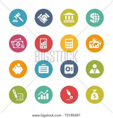 Business & Finance Icons // Fresh Colors -- Icons and buttons in different layers, easy to change colors. poster