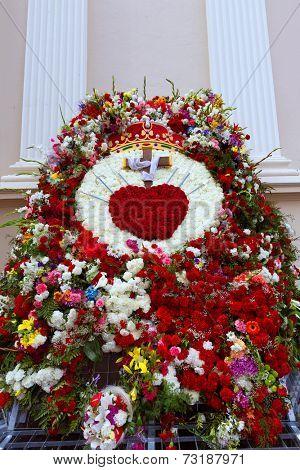 Iglesia de la Caridad of Cartagena church fest flowers at spain
