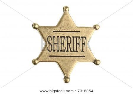 Six point sheriff star badge isolated on white