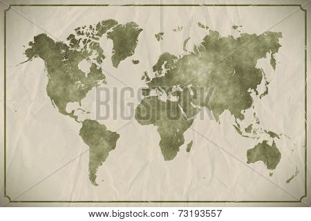 Watercolour world map on aged, crumpled paper background. EPS10 vector format