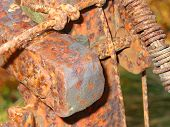 close-up of rusted section of equipment poster