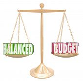 Balanced Budget 3d words on a gold scale weighing costs against revenues in accounting or bookkeeping poster