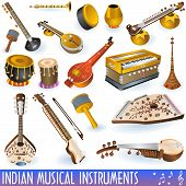 A colored  collection of different traditional Indian musical instruments. poster