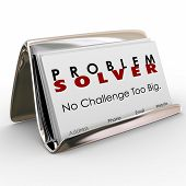 Problem Solver words on business cards to spread the word on your consultant job or career poster