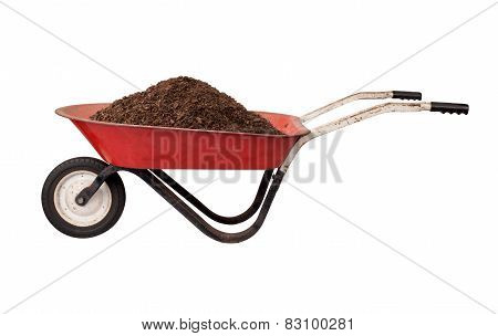 Rusty Red Wheelbarrow With Soil