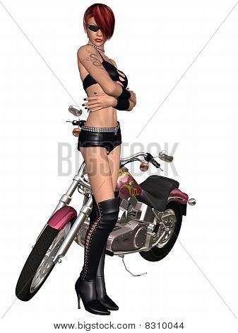 Sexy biker girl and her bike