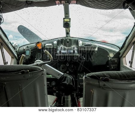 Detail of the cockpit of an old seaplane