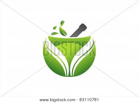 Pharmacy Logo,medicine Globe Symbol,herbal Nature Leaf,medicine Health Plant Icon.eps
