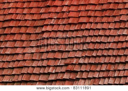 Red Shingle Roof Made Of Wood