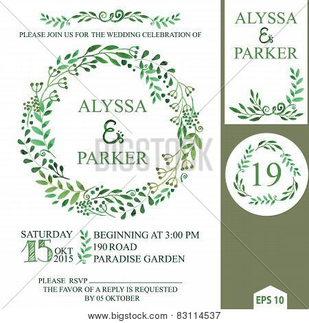 Wedding invitation with watercolor brunches wreath,decor.eps