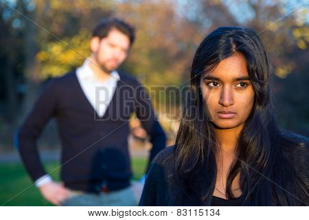 Couple After A Fight Outside In A Park