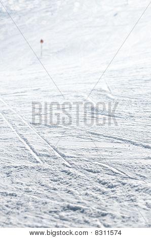 Close Up Of Ski Track