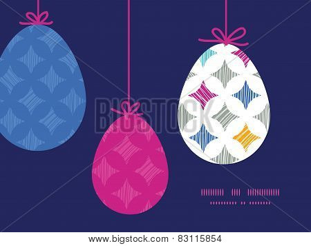 Vector colorful marble textured tiles hanging Easter eggs ornaments sillhouettes frame card template