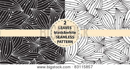 Two abstract seamless textile pattern with leaves. Vector illustration.