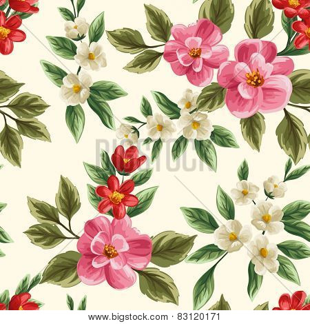 Floral seamless pattern with pink, white and red flowers and leaves on beige background.