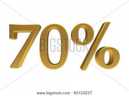 70 percent off. Discount 70. 3D illustration