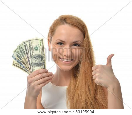 Happy Young Woman Holding Up Cash Money Dollars