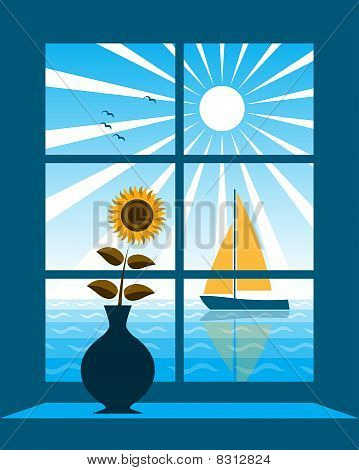 Sailboat Outside Window
