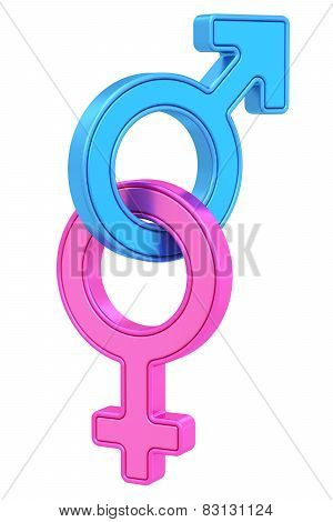 Male And Female Gender Symbols Chained Together On White
