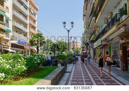 Greece, Thessaloniki, The Historic Center Of The City. Street With A View Of The Rotunda Of St. Geor