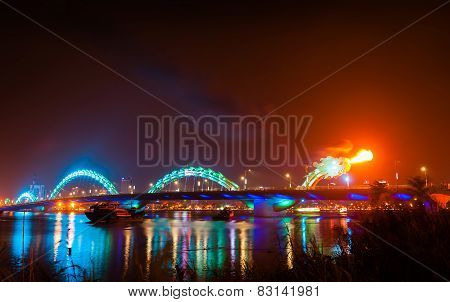 Turquoise Dragon Bridge With Flame In Danang Vietnam