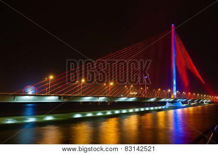 Night View Of Bridge Danang Vietnam