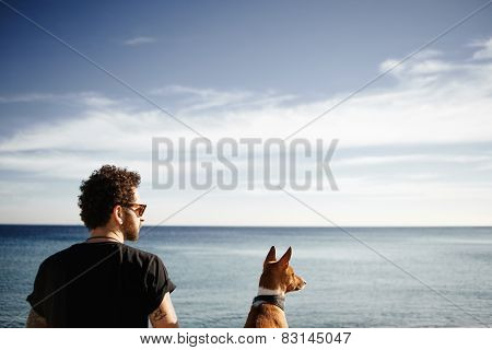 ?lose Up Portrait Man In Sunglasses Sitting In Beach In Spring Or Summer With Friend's Dog Breed Bas
