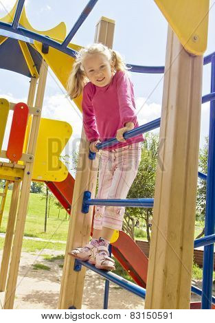 Girl Playing On Children's Staircase