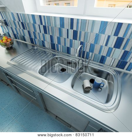 3D rendering of a kitchen area