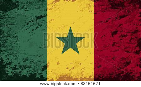 Senegalese flag. Grunge background. Vector illustration