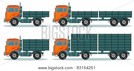 Orange empty truck, vector illustration