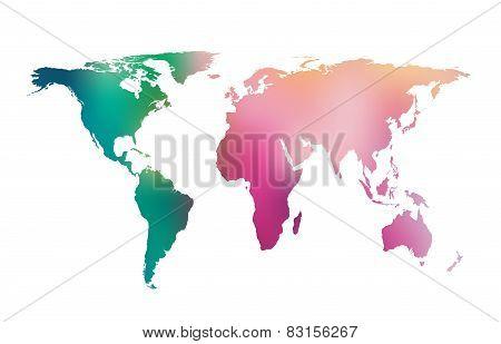 Vector Gradient World Map