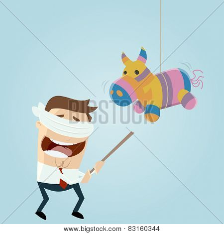 funny cartoon man and pinata horse