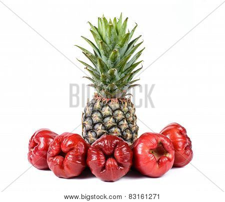 Rose Apples Or Chomphu With Pineapple Isolated On White Background