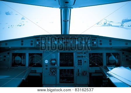 cockpit view of airplane interior