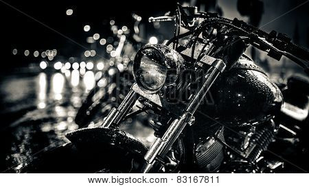 Motor bike headlight.Motorbike detail.Shiny chrome motorcycle